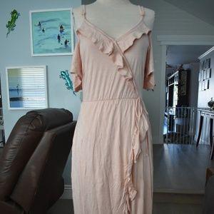 Cold Shoulder Ruffle Maxi Dress, Large